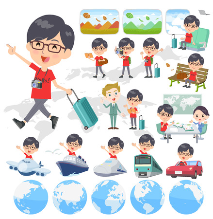Set of various poses of red Tshirt Glasse men_travel Illustration