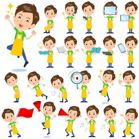 Set of various poses of Childminder vector illustration. Çizim