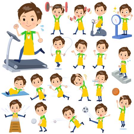 Set of various poses of Childminder vector illustration. Illustration