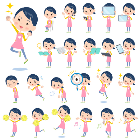 Set of various poses of Childminder women_2 Stock Vector - 84328098