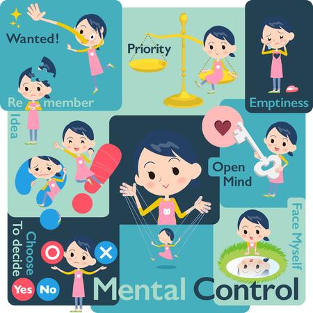Set of various poses of Childminder women_Mental & volition Illustration