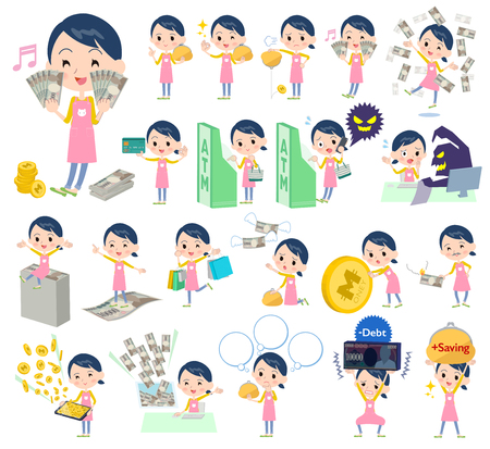 Set of various poses of Childminder women_money Illustration