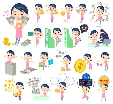 Set of various poses of Childminder women_money Illustration