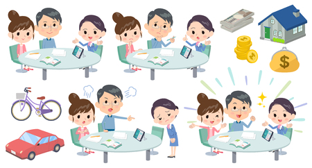 Set of various poses of meeting lecture husband and wife_2  イラスト・ベクター素材