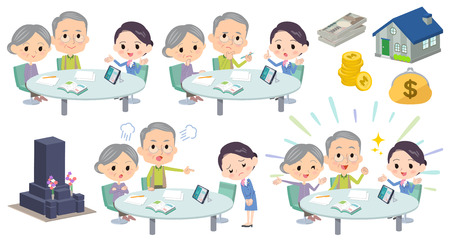 Set of various poses of meeting lecture old husband and wife_2 Stock Illustratie