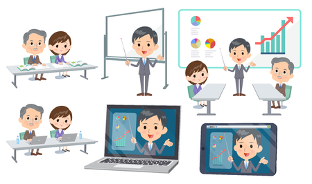 Set of various poses of meeting lecture business_3