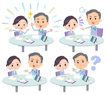 Nurse and doctor discussing, on white background. vector illustration. Illustration