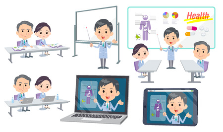 Nurse and doctor discussing, on white background, vector illustration. 向量圖像