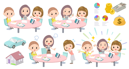 Conjunto de varias poses de reunión conferencia mujeres de negocios group_2 Ilustración de vector