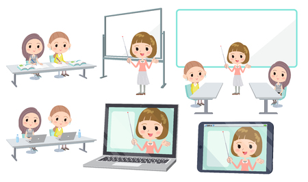 Set of various poses of meeting lecture business women group_3 Illustration