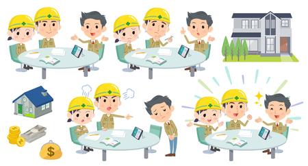 会議講演建設現場労働者の様々 なポーズのセット  イラスト・ベクター素材
