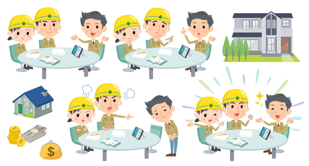 Set van verschillende poses van vergadering lezing bouwplaats werknemer Stock Illustratie
