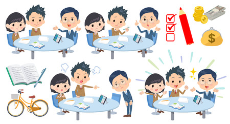 Set of various poses of meeting lecture school