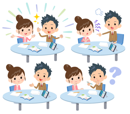 Set of various poses of school parent-teacher conference_1