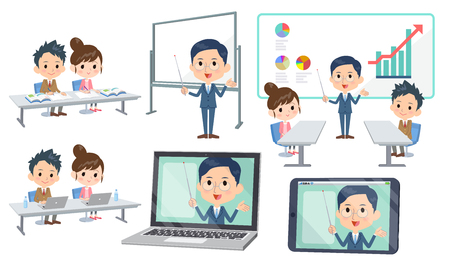 Set of various poses of school parent-teacher conference_3