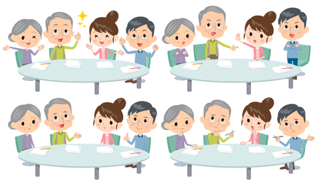 Set of various poses of meeting lecture 2 generation_1 Illustration