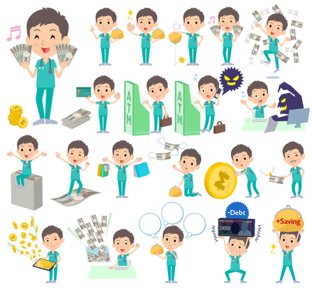 Set of various poses of surgical operation green wear men money