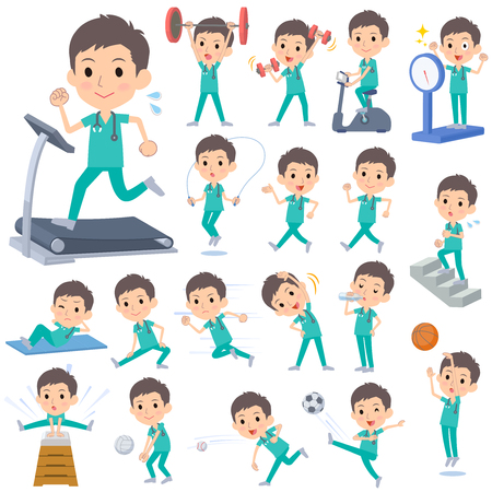 Set of various poses of surgical operation green wear men Sports Illustration