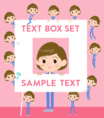 Set of various poses of surgical operation blue wear women_text box Illustration