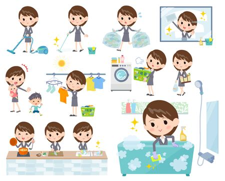 wiping: Set of various poses of Gray suit business women_Housekeeping