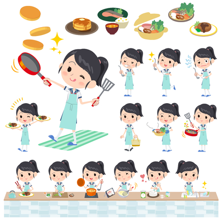 Set of various poses of shortsleeved shirt Sailor suit_cooking