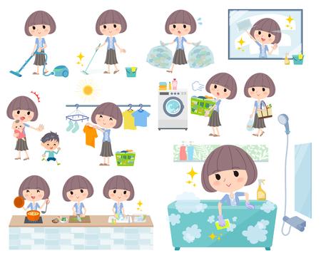 Conjunto de varias ilustraciones de una mujer haciendo diferentes tareas domésticas. Foto de archivo - 84891604