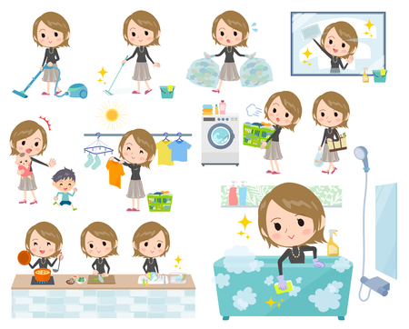 Set of various illustration of a woman doing different household chores.