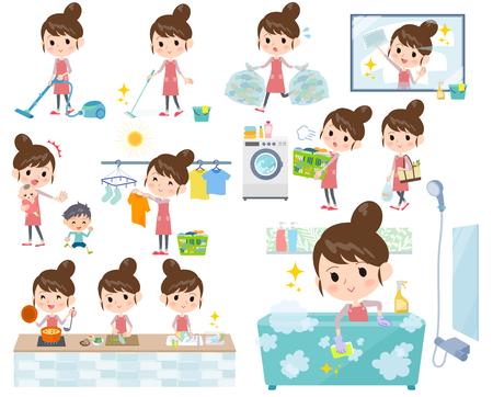 lavar platos: Conjunto de varias tareas realizadas por una madre con un pelo de bollo de ballet.