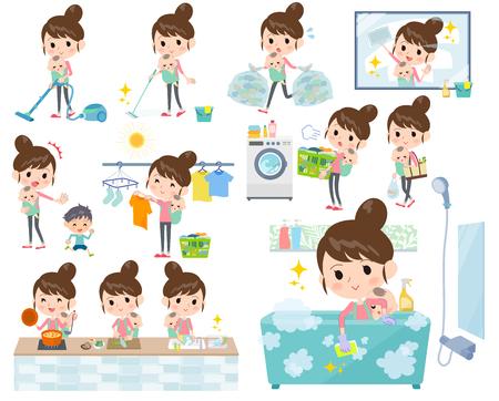Set von verschiedenen Posen von Mutter und baby_housekeeping