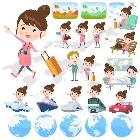 Set of various poses of travelling pregnant woman. 向量圖像