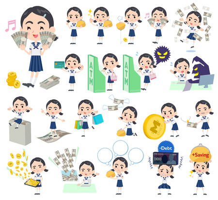cash: Set of various poses of Sailor suit Thick eyebrows girl money Illustration