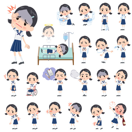 Set of various poses of Sailor suit Thick eyebrows girl sickness Illustration