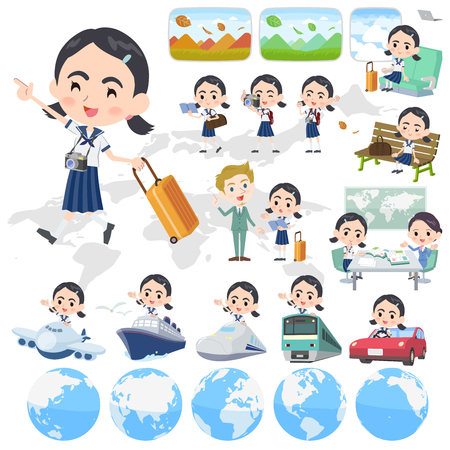 Set of various poses of Sailor suit Thick eyebrows girl_travel vector illustration 向量圖像