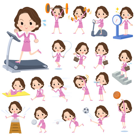 Set of various poses of Pink suit business middle aged women_Sports & exercise