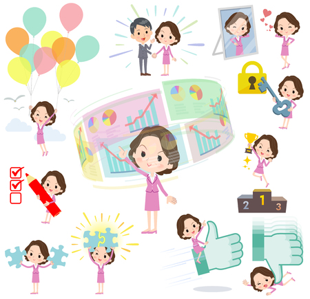 Set of various poses of Pink suit business middle aged women_success & positive Illustration