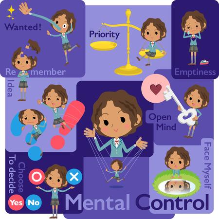 oneself: Set of various poses of Schoolgirl Black_Mental Illustration