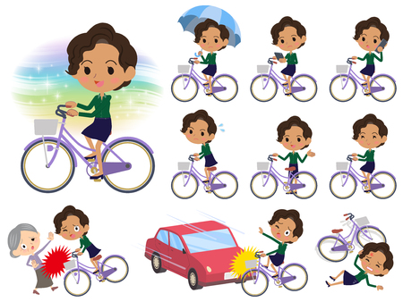 Set of various poses of business black women_city bicycle vector illustration