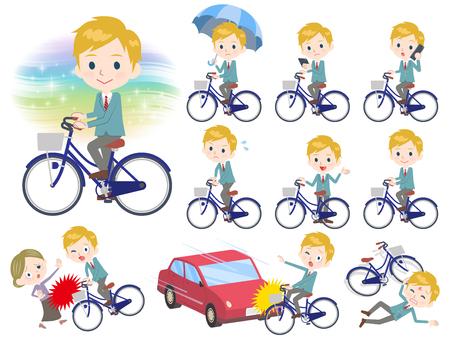 Set van verschillende poses van schooljongen op een fiets