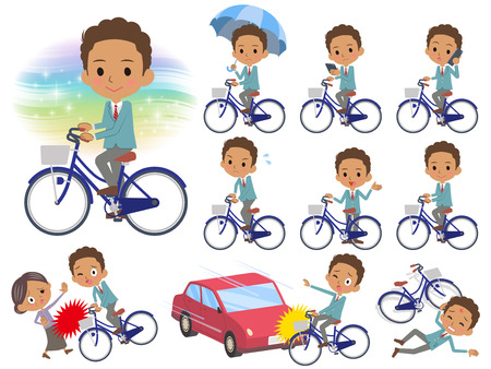 Set of various poses of school boy Black_city bicycle Illustration
