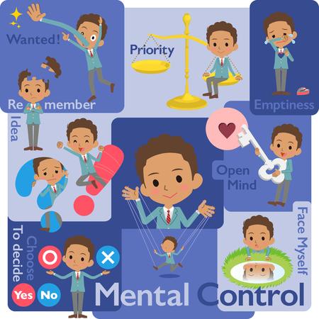 oneself: Set of various poses of school boy Black_Mental & volition