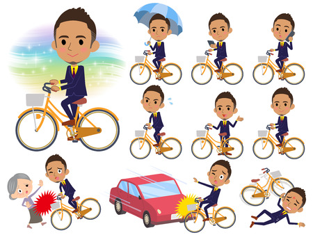 Set of various poses of Berry Short hair businessman black_city bicycle