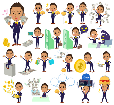 poverty: Set of various poses of Berry Short hair businessman black_money Illustration