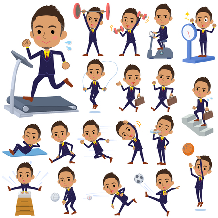 Set of various poses of Berry Short hair businessman black_Sports & exercise