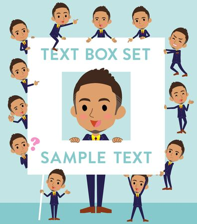 Set of various poses of Berry Short hair businessman black_text box Illustration