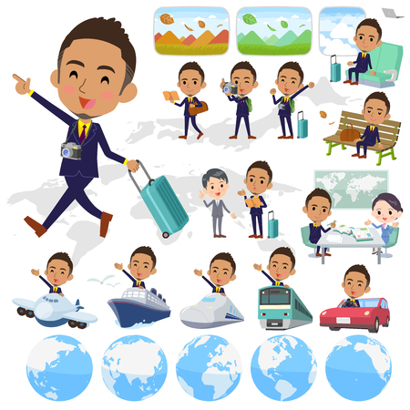Set of various poses of Berry Short hair businessman black_travel 向量圖像