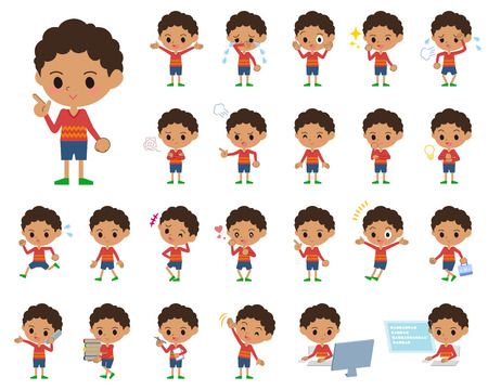 Set of various poses of perm hair boy