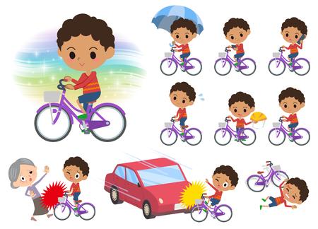 자전거와 함께 파마 머리 소년의 다양 한 포즈의 집합 일러스트