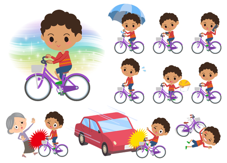 Set of various poses of perm hair boy with bicycle Illustration