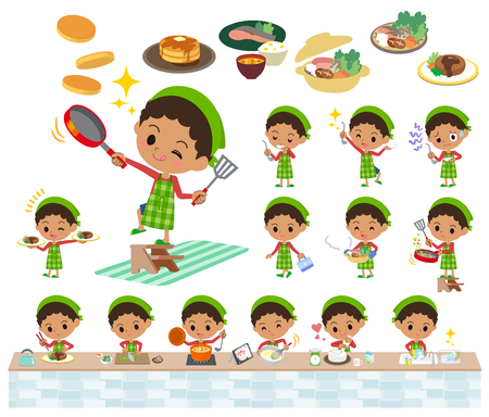 Set of various poses of perm hair boy cooking