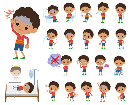 Set of various poses of boy with sickness